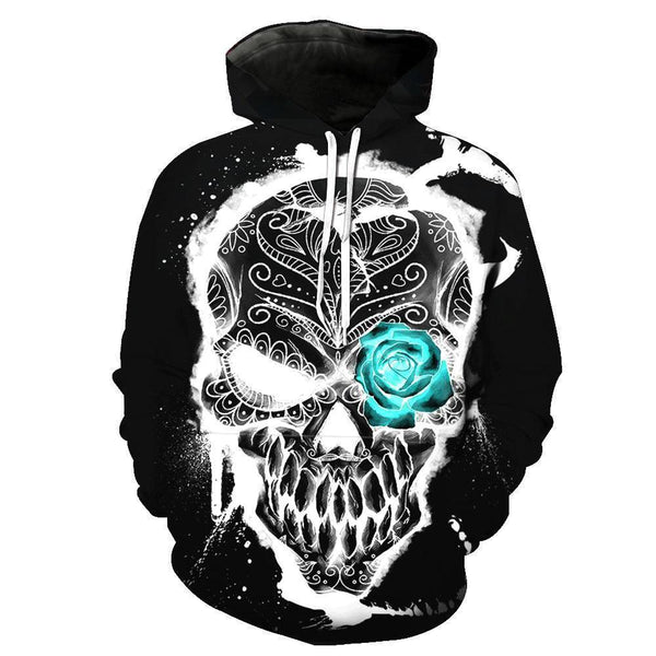 Shining Skull Black Hoodies Sweatshirt Funny 3D Print Long Sleeve Pullovers Tracksuit Leisure Fashion Hooded Shirts with Pocket Spring Autumn Casual Clothes NO.1345