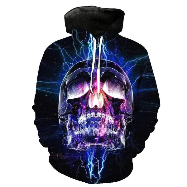 Skull Party Black Hoodies Sweatshirt Funny 3D Print Long Sleeve Pullovers Tracksuit Leisure Fashion Hooded Shirts with Pocket Spring Autumn Casual Clothes NO.1346