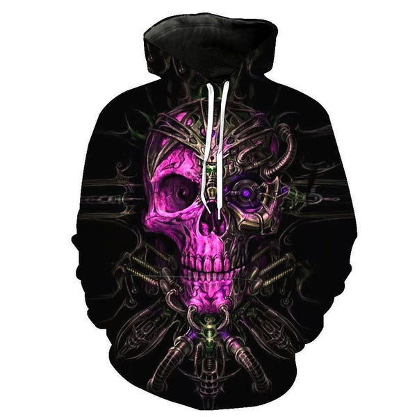 Purple Face Skull Hoodies Sweatshirt Funny 3D Print Long Sleeve Pullovers Tracksuit Leisure Fashion Hooded Shirts with Pocket Spring Autumn Casual Clothes NO.1347