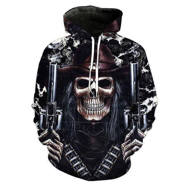 Bandits Skull Hoodies Sweatshirt Funny 3D Print Long Sleeve Pullovers Tracksuit Leisure Fashion Hooded Shirts with Pocket Spring Autumn Casual Clothes NO.1350