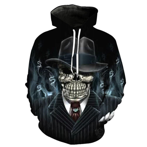 Boss Skull Hoodies Sweatshirt Funny 3D Print Long Sleeve Pullovers Tracksuit Leisure Fashion Hooded Shirts with Pocket Spring Autumn Casual Clothes NO.1351