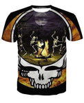 Campfire Skull Dancing Crewneck Men's Crewneck 3D Print Skull Short-sleeve Pullover Tracksuit  Sweater Sweatshirts Leisure Fashion Shirts Casual Clothes T-Shirt Top Tees NO.1352