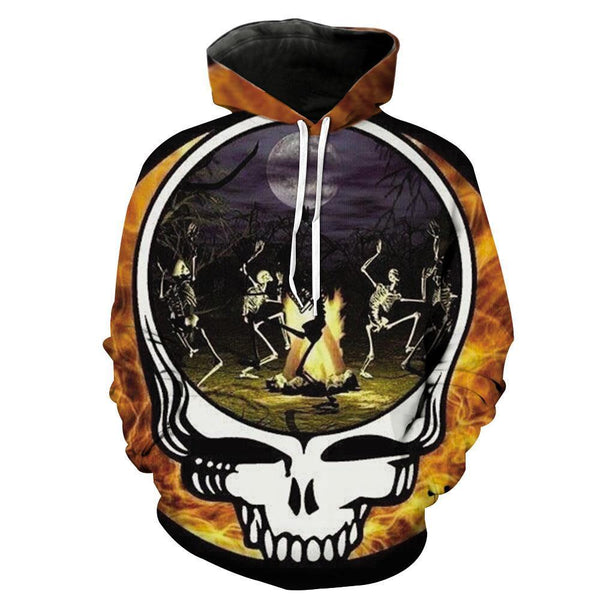 Needfire Evening Dancing Skull Hoodies Sweatshirt Funny 3D Print Long Sleeve Pullovers Tracksuit Leisure Fashion Hooded Shirts with Pocket Spring Autumn Casual Clothes NO.1352
