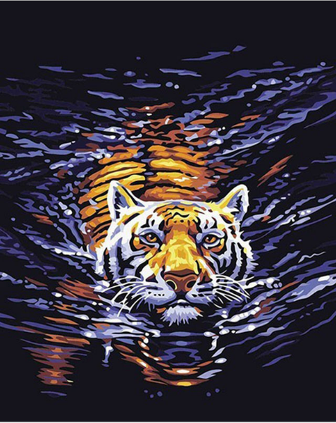 Water Tiger-DIY Painting living room wall pictures canvas modern pictures home decoration 16x20 inch animal Frameless