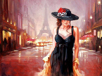 FramelessPaint  Canvas Oil Painting for  Students, Adults Beginner  with Brushes and  Pigment Beautiful Lady in Paris Street