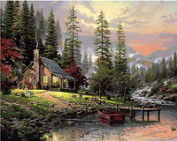 Fairylove 40 x 50cm Paint for Adults DIY Oil Painting , Cabin in the Woods