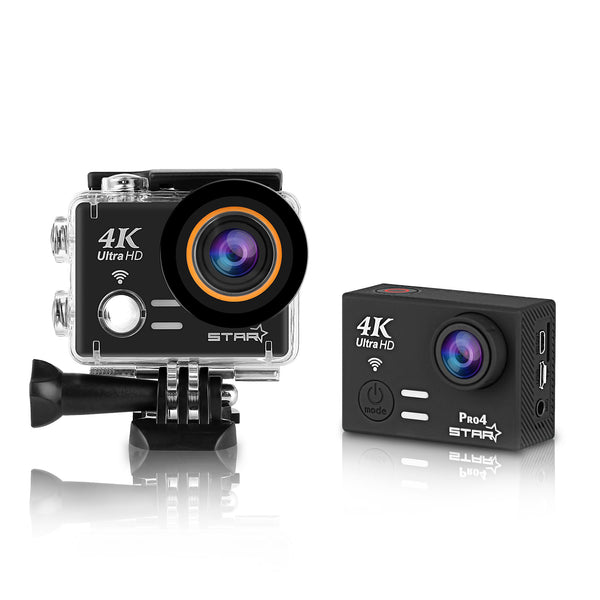 Pro4S 4K 30fps Full HD Action Camera Sony Sensor 20MP Shooting 3-Hours Life G-SENSOR Aerial Photography WIFI 2.4G Remote Image Transmission Waterproof for 45M Underwater Sport Slow Motion Time-Lapse