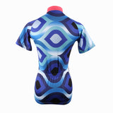Scrollwork Pink-collar Blue Women's Long/Short Sleeves Blue Pink-collar Cycling Jersey 182
