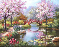 Fairylove 40 x 50cm Paint for  DIY Oil Painting, Japanese Garden Spring Blossom Season
