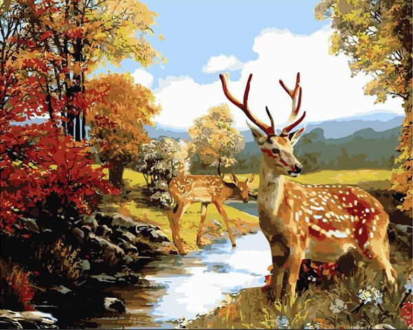 Brown Wall Art Painting Deer In Forest Prints The Picture Animal Pictures Oil For Home Modern Decoration Print Decor