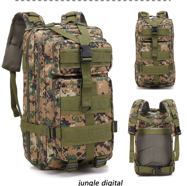 30L Large Volume Capacity Stylish Multifunctional 3D tactical backpack Shoulders Bag Outdoor Waterproof Sports Backpack For Men and Women for travel and Hiking Best with Multiple Compartments - BL008
