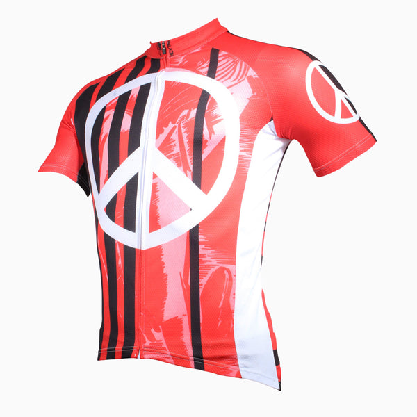 Anti War Logo Red -Breathable Sports Bicycling Shirts Summer Quick Dry Sportswear - Men's Short-Sleeve Cycling JerseyNO. 198