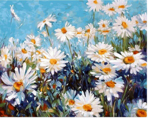 Adarl DIY Oil Painting Drawing On Canvas By Hand Coloring Arts Crafts & Sewing NEW White Daisies