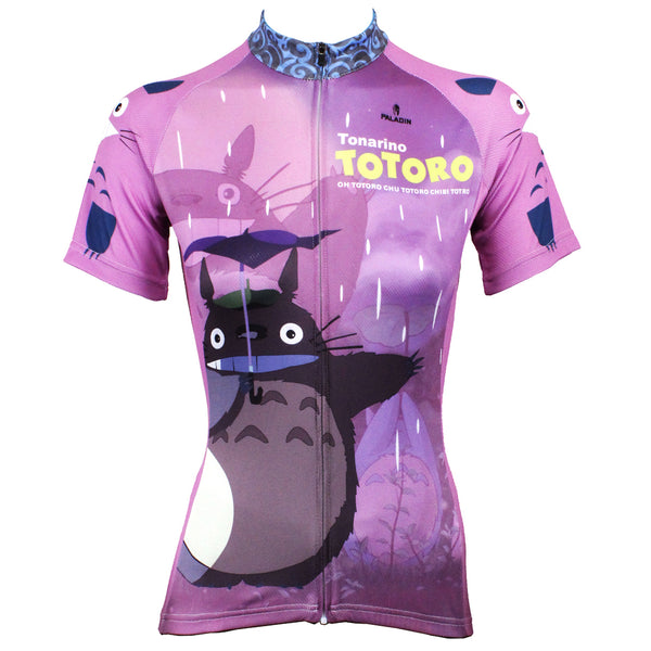 Animated Film Cartoon Character My Neighbor Totoro Day Umbrella Purple - Breathable Sports Bicycling Shirts Summer Quick Dry Sportswear Chinchilla - Women's Short-Sleeve Cycling Jersey  NO.519