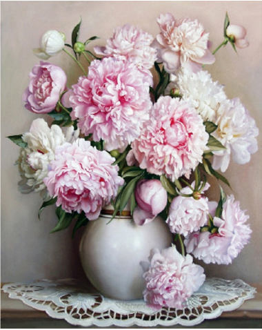 New Diy Oil Painting for Adults Kids Beginner,Fengshui Pink Peony Drawing with Brushes Paint Frameless