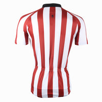 Football Style Red White Stripes Blue White Stripes Short-Sleeve Cycling Jersey 179/180