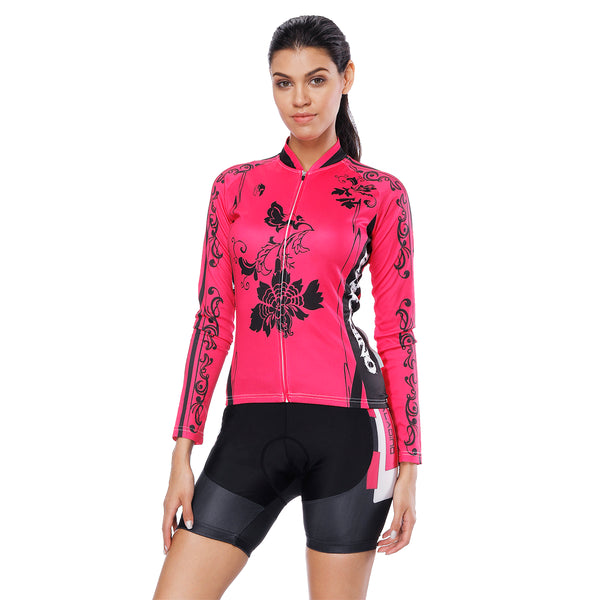 Black Flower Pink Red Women's Cycling Short-sleeve/Long-sleeve Bike Jersey/Kit T-shirt Summer Top / Suit NO. 794