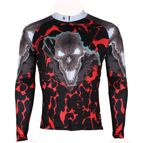 ILPALADINO Hell Skull - Biking Shirt Comfortable Exercise Bicycling Pro Cycle Clothing Racing Apparel Spring Autumn/fall Outdoor Sports Leisure Biking Shirts - Long-sleeve Men's Cycling Jersey NO. 290