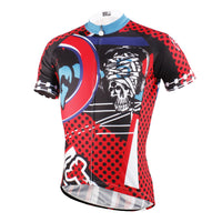 ILPALADINO Injury Rock Skull Red- Sport Shirt Exercise Bicycling Pro Cycle Clothing Racing Apparel Outdoor Sports Leisure Biking Shirts- Cycling Short Sleeve Jersey NO.615