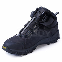 ESDY Mens Outdoor Auto-buckle Tie Quick-Reaction Shoes Hiking Climbing Lightweight Boots Black/khaki/Grey NO.C101