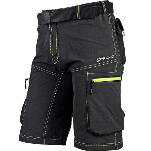 Black/Green Summer Mens Cycling Shorts MTB Bike Bicycle Pants Breathable Quick Dry Leisure Comfortable Loose-Fit Baggy with Zip Pockets NO. MK005