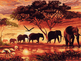 Frameless Sunset Elephants Animals DIY Painting Modern Wall Art Hand Painted Acrylic Picture For Home Decor 40x50cm