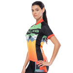 Orange Green Splicing Women's Cycling Short-sleeve Bike Jersey/Kit T-shirt Summer Top / Suit NO. 787
