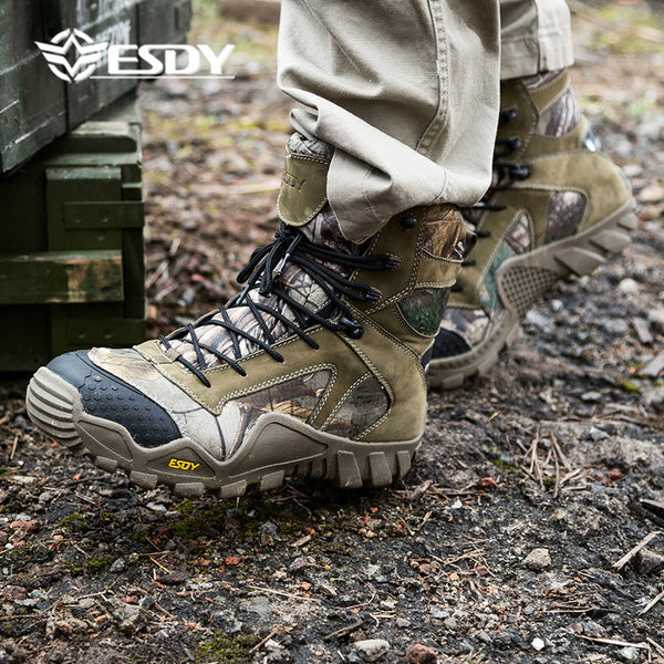 ESDY Mens High Tree camouflaged Outdoor Sports Hiking Shoes Wear-resisting Keep-warm Breathable Camo NO.C004