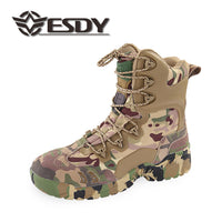 ESDY Mens Outdoor Wild Survive Desert Hiking Climbing Training High Caravan Shoes Breathable Ankle Guard Boots Black/Khaki/Camo NO.C005