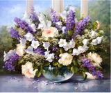 Diy oil painting, paint by number kit- Elegant Flowers