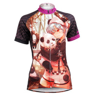 Ilpaladino Little Panda & Two-dimensions Lovely Girl - Biking Shirts Breathable Summer Bicycling Clothes - Short Sleeve Women's Cycling Jersey NO.590