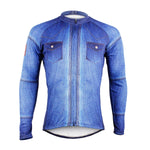Denim blue Men's long-sleeve Cycling Jersey Biking T-shirt Summer NO.607