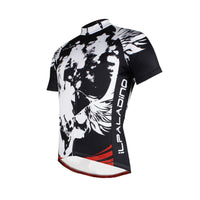 Red-bottom Black & White Cycling Jersey Men's Short-Sleeve Bicycling Summer T-shirt NO.659