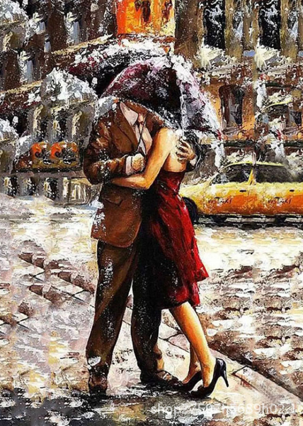 DIY Painting by Numbers for Adults, Paint Drawing With Brushes Paint Suitable for All Skill Levels   Couple Kissing in the Snow