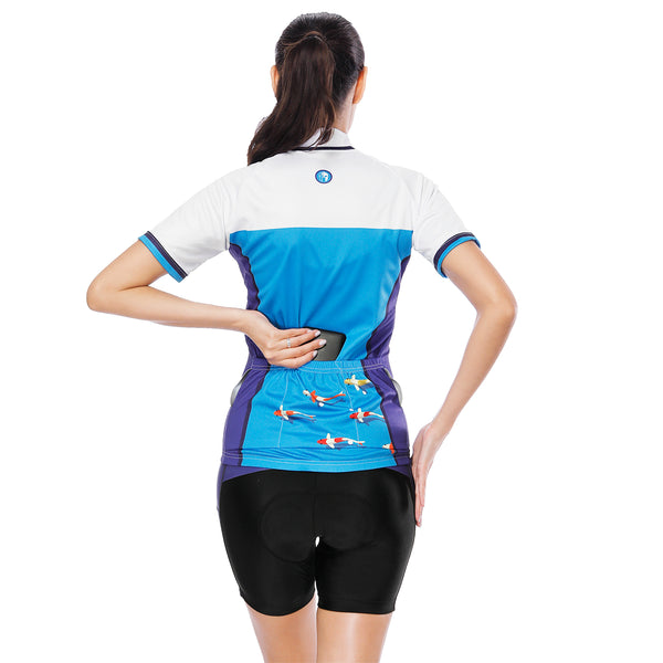 Sea and Fish White Blue Purple Women's Cycling Short-sleeve Bike Jersey/Kit T-shirt Summer Top / Suit NO. 796