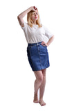 Women's Ease In To Comfort Fit Pull-on Stretch Denim Skirt