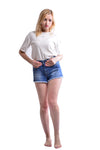 Women's White High Waist Washed Denim Shorts Jeans