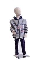 Boy' Full-Zip Logo Hoodie with Striped Rib