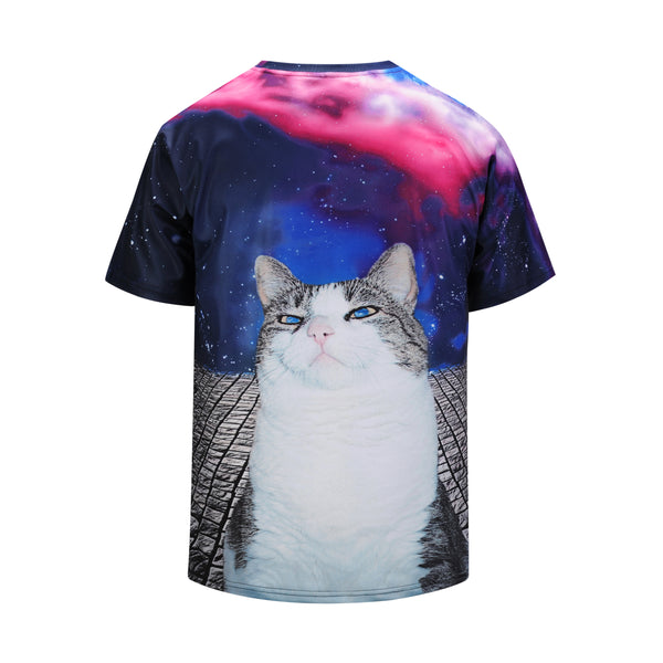 39a906de75fb ... DX803022# Blue-eye Cat Mens T-shirt Graphic 3D Printed Round-collar ...
