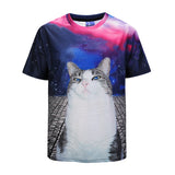 DX803022# Blue-eye Cat Mens T-shirt Graphic 3D Printed Round-collar Short Sleeve Summer Casual Cool T-Shirts Fashion Top Tees