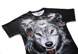 DX803023# Red-eye Wolf Mens T-shirt Graphic 3D Printed Round-collar Short Sleeve Summer Casual Cool T-Shirts Fashion Top Tees