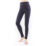 Women Legging Large Imitated Jeans Yoga Pants Jeans Sports Workout Gym Tight Blue/Black LA02