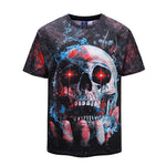 DX803027# Holding Skull Mens T-shirt Graphic 3D Printed Round-collar Short Sleeve Summer Casual Cool T-Shirts Fashion Top Tees