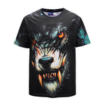 DX803025# Wolf Fangs Mens T-shirt Graphic 3D Printed Round-collar Short Sleeve Summer Casual Cool T-Shirts Fashion Top Tees