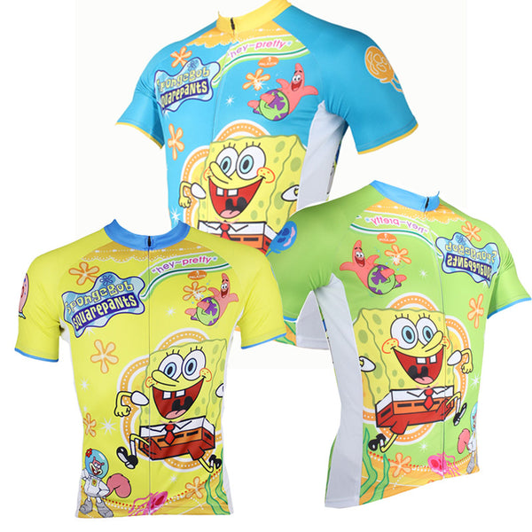 SpongeBob SquarePants Gary Patrick Star Sandy Cheeks Cartoon World - Summer Bicycling Pro Cycle Clothing Racing Apparel Outdoor Sports Leisure Biking T-shirt Sportswear - Short-sleeve Men's Cycling Jersey Blue/Yellow/Green