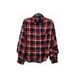 Spring Autumn Boyfriend Long-sleeve Shirt Woman Red&Black Checked Oversize Leisurewear