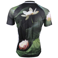 Lotus Pond Nature Men's Cycling Jersey Summer Lotus Biking T-shirt Black NO.147