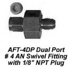 "CHP-AFT-4DP-DUAL PORT #4 AN SWIVEL FITTING WITH 1/8"" NPT PLUG"