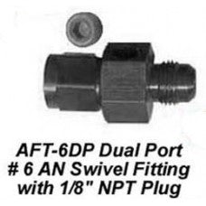 "CHP-AFT-6DP-DUAL PORT #6 AN SWIVEL FITTING WITH 1/8"" NPT PLUG"