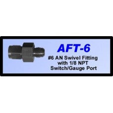 CHP-AFT-6-#6 AN SWIVEL FITTING WITH 1/8 NPT SWITCH/GAUGE PORT